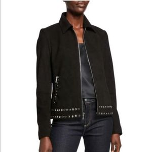 Blacke Suede Studded Leather J…